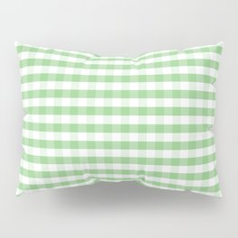 Color of the Year Large Greenery and White Gingham Check Plaid Pillow Sham