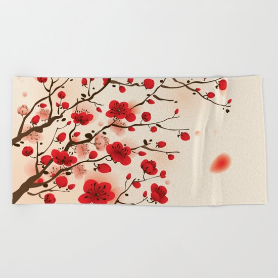 Oriental plum blossom in spring 006 Beach Towel