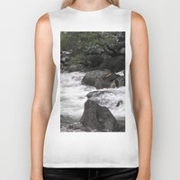 yosemite Biker Tanks featuring Yosemite Rapids by Angela McCall