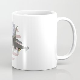 F-16 Jet Fighter with American Flag Coffee Mug
