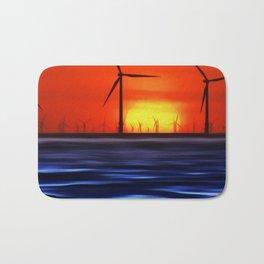Wind Farms in the Sunset (Digital Art) Bath Mat