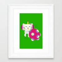 katamari Framed Art Prints featuring Katamari Kitty by Martine Verfaillie