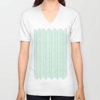 herringbone V-neck T-shirts featuring Herringbone Mint by Project M