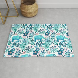 Dusty Pink, White and Teal Elephant and Floral Watercolor Pattern Rug