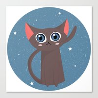 space cat Canvas Prints featuring Space cat by Alex Fabri