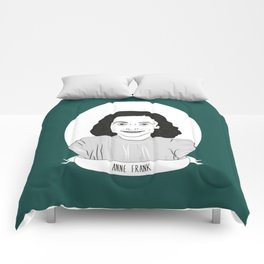 Anne Frank Illustrated Portrait Comforters