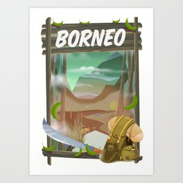 Borneo Jungle poster. Art Print