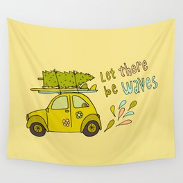 let there be waves for christmas surf art by surfy birdy Wall Tapestry
