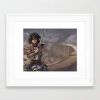 mikasa Framed Art Prints featuring Mikasa by NUNBAY