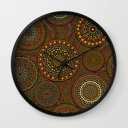 Dot Art Circles Aboriginal Art #1 Wall Clock