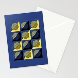 Geometric Eclipse in Blue Yellow & Black Stationery Cards