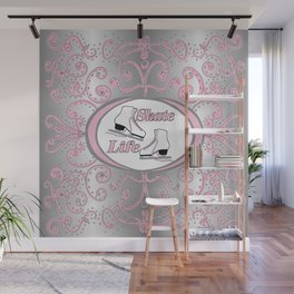 Figure Skating Collection in Delicate Pink and Silver Design Wall Mural