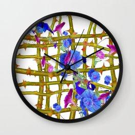 BLUE MORNING GLORIES THORN LATTICE DESIGN Wall Clock