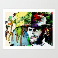 Clint Cowboy Western Vigilante Print Poster by Robert R Art Print