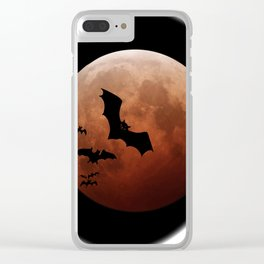 Black bats flying against a red moon Clear iPhone Case