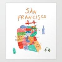 san francisco map Art Prints featuring map of san francisco by sarah green