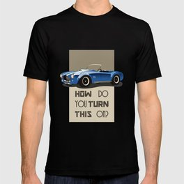The Classic Game Cheat Code: How do you turn this on Funny Blue Cobra Car T-shirt