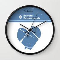 edward scissorhands Wall Clocks featuring Edward Scissorhands by Bubblegum Prints