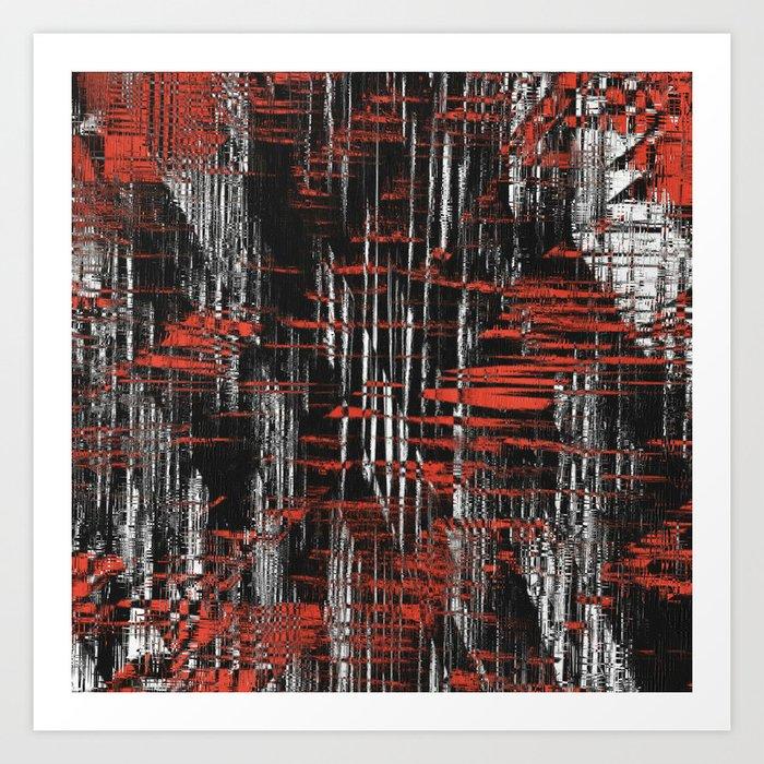 Red and Black Modern Art Art Print