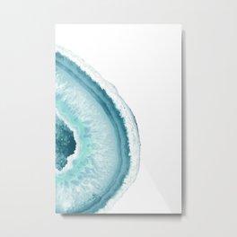 Aqua Blue Agate Print 2 Metal Print