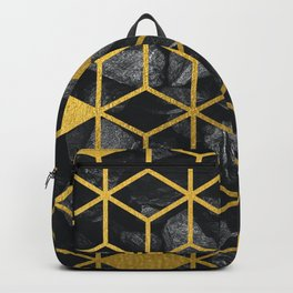 Black Stones Gold Geometric Cubes Pattern Backpack