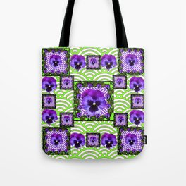 GREEN &  PURPLE PANSY ART ABSTRACT  PATTERN Tote Bag