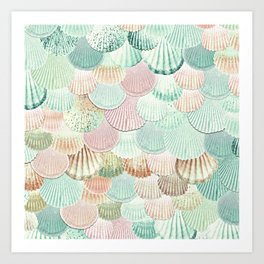 MERMAID SHELLS - MINT & ROSEGOLD Art Print