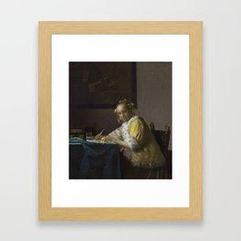 A Lady Writing by Johannes Vermeer, 1665 Framed Art Print