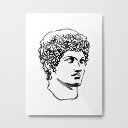 marble head, Greek god, Greek and Roman sculpture painting, watercolor painting Metal Print