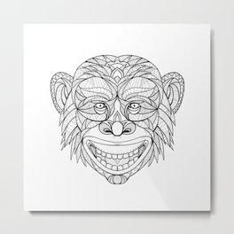Chimpanzee Head Zentagle Metal Print