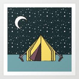pitching a tent Art Print