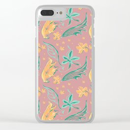 Rose and yellow floral doodle Clear iPhone Case