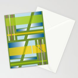 Green Square Abstract Stationery Cards