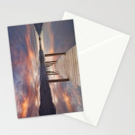 Flooded jetty in Derwent Water, Lake District, England at sunset Stationery Cards