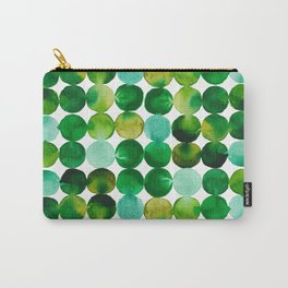 Green Watercolor Circles Pattern Carry-All Pouch