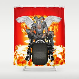 Biker of the Apocalypse-Conquest Shower Curtain