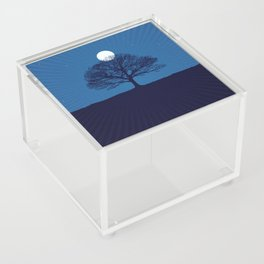Moonrise of a winter tree Acrylic Box