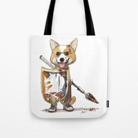 bouletcorp Tote Bags featuring Corgi Barbare by Bouletcorp