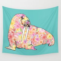 walrus Wall Tapestries featuring Aqua Walrus by Supermaggie