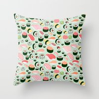 sushi Throw Pillows featuring Sushi Love by Kristin Nohe Juchs