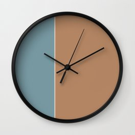 Salmon and Blue Rectangles Wall Clock