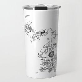 Michigan - Hand Lettered Map Travel Mug
