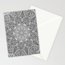 Gray Center Swirl Mandala Stationery Cards