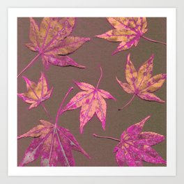 Japanese maple leaves - neon pink on khaki Art Print