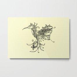 Kolibri Lineart Cream Metal Print