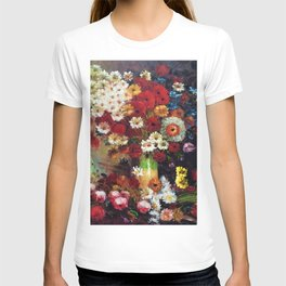 Red Poppies, Dahlias, Daises, Begonia, Parrot Tulips in Vase Tuscany Still Life by Vincent van Gogh T-shirt