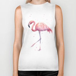 Flamingo Watercolor Pink Bird Biker Tank