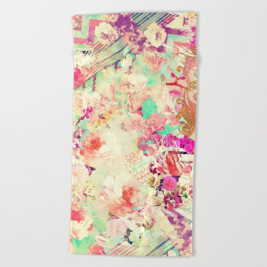 Flowers Mix Vintage Patchwork Beach Towel
