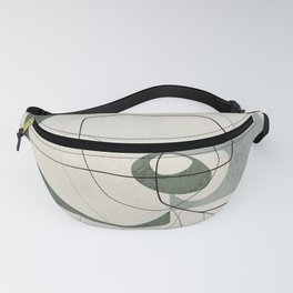 Minimalist Abstract Art Shapes - Scribbles Hunter Green 2 Fanny Pack