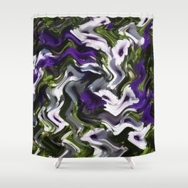 Petunias in Abstract Shower Curtain